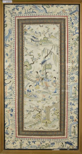 Chinese Qing/Minguo Embroidery Of Courtyard Scene