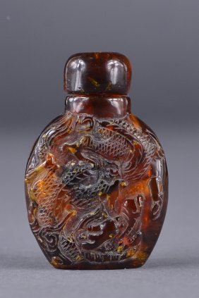19th C. Chinese Carved Amber Snuff Bottle Dragon