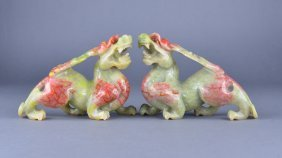 Pair Of Chinese Shoushan Stone Carved Lions