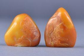 Pair Chinese Carved Shoushan Stone Boulder