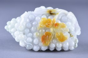 Chinese White Russet Jade Figure Of Grapes