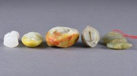 Set Of Five Various Chinese Jade Carvings