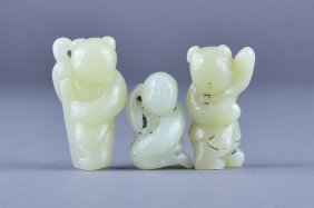 Set Of Three Chinese Carved White Jade Figures