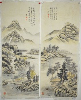 Two Chinese Watercolors On Paper