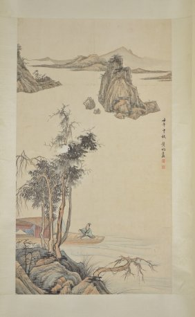 Wang Jun Chinese Watercolour Hanging Scroll