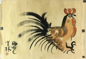 Chinese Wc Chicken Painting Paper Han Meilin 1936-