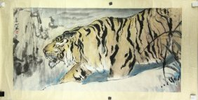 Chinese Wc Tiger Painting Yang Shanshen 1913-2004