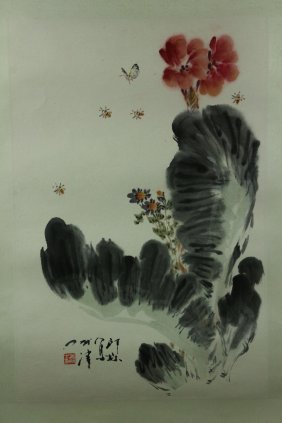 Chinese Wc Lotus Flower Scroll Xiao Lang 1917-2010