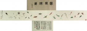 Wc Insects Hand Scroll Wang Xuetao 1903-82