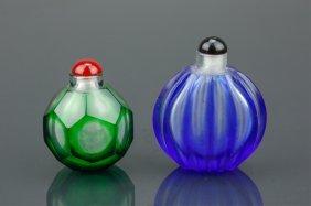 Two (2) Chinese Peking Glass Snuff Bottles
