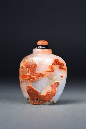 Chinese Carved Hardstone Snuff Bottle