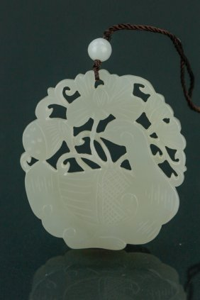 Chinese Carved White Jade Crane Pendant