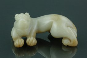 Chinese Two Colour Celadon Jade Carved Pixiu