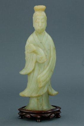 Chinese Celadon Jade Carved Man Holding Ruyi