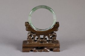 Chinese Olive Green Jadeite Carved Bangle