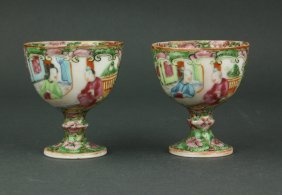Pair Chinese Canton Enamelled Porcelain Stem Cups