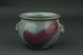 Chinese Junyao Double Handled Porcelain Censer