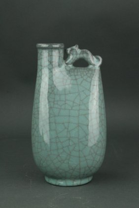 Chinese Crackle Celadon Glazed Porcelain Wine Pot