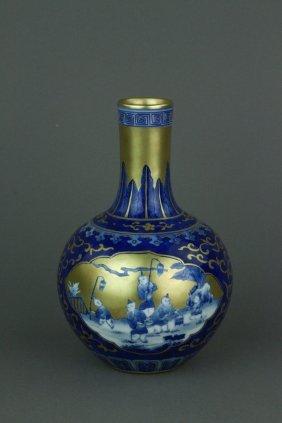 Chinese Blue Ground Porcelain Vase Qianlong Mk
