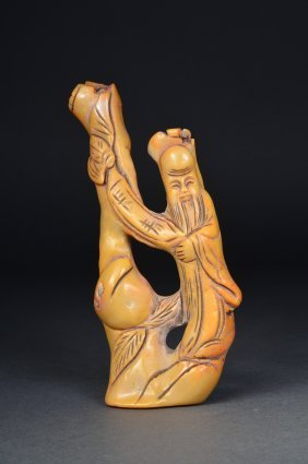 Chinese Carved Coral Figure Of Shou Lao