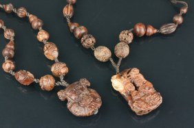 2 Pc Of Chinese Wooden Necklaces