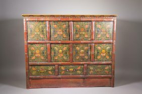 Chinese Tibetan Cabinet Red Lacquer Floral