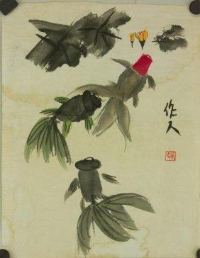 Chinese Watercolour On Paper Wu Zuoren 1908-1997