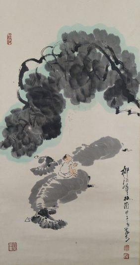 Watercolour Boy On Cow Scroll Li Keran 1907-1989