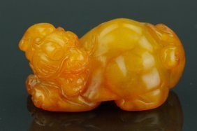 Chinese Shoushan Stone Carved Lion