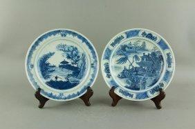 Pair 18th C. Kangxi Export B&w Porcelain Saucers