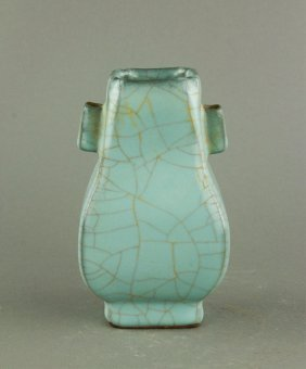 Chinese Guan Type Square Porcelain Bottle