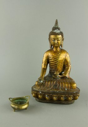 Chinese Bronze Buddle And Small Ming Xuande Mk