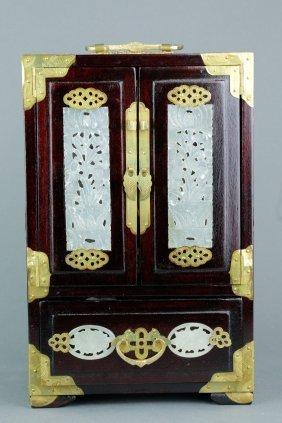 Rosewood Jewellery Box W/ Jade Insets