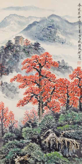 Watercolour Scroll Guan Shanyue 1912-2000