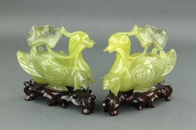 Pair Chinese Fine Hardstone Carved Ducks