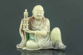 18th/19th C. Chinese Fine Soapstone Carved Lohan