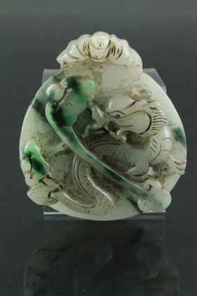 Chinese Large Green & White Jadeite Dragon Pendant