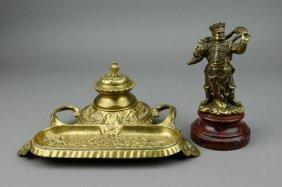 Chinese Metal Gilt Figure & Ink Box