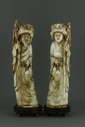 Pair Qianlong Carved Ivory Fisherman & Wife Cites