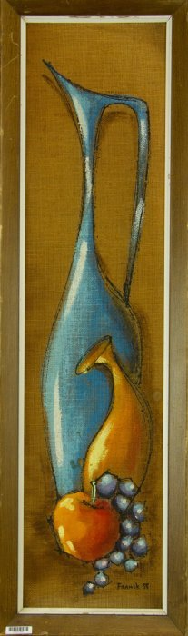Still Life Oil On Panel With Frame Artist Signed
