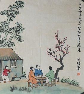 Watercolour On Paper Figuers Feng Zi Kai 1898-1975