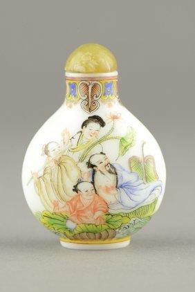 Enameled Painted Glass Snuff Bottle W Qianlong Mk