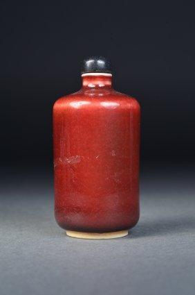 Chinese Red Glazed Porcelain Snuff Bottle Kangxi