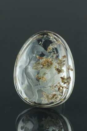 Chinese Carved Crystal Pebble