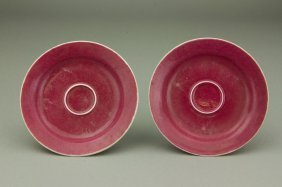 18th C. Pair Of Peach Bloom Porcelain Cup Stands
