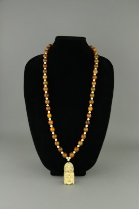 Chinese Amber Necklace W/ Guanyin Pendant