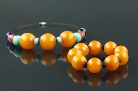 Pair Of Coral W/ Amber-like Necklace & Bracelet