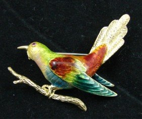 Italian 18K Gold Enamel Bird Pin