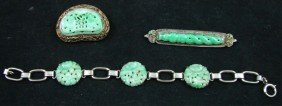 Group Of Chinese Jade & Silver Jewelry