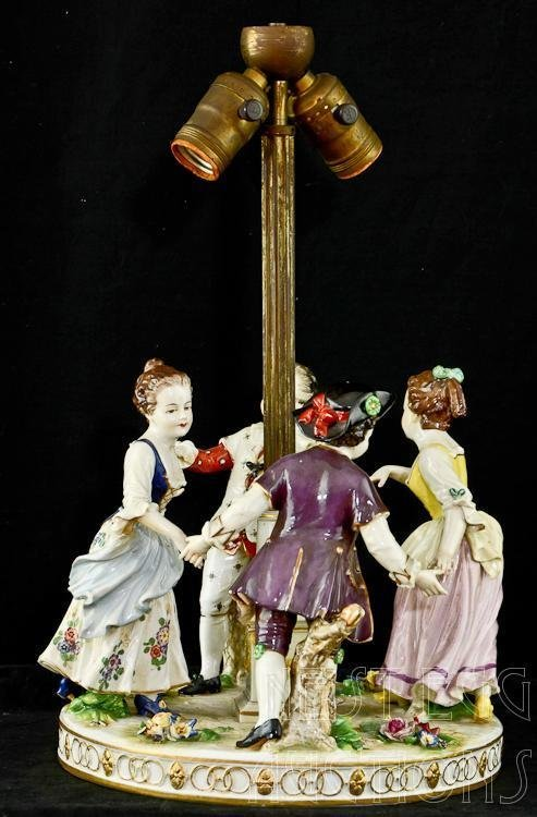German dresden style porcelain may day figural lamp lot 7 - Lamp may day ...